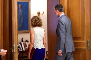 El Rey recibe a la presidenta del Congreso de los Diputados, Meritxel Batet,en el Palacio de La Zarzuela.