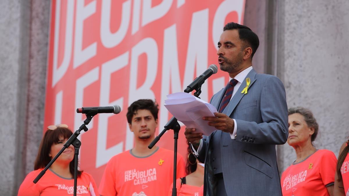 Aamer Anwar,abogado de Clara Ponsatí, hablaen la Diada