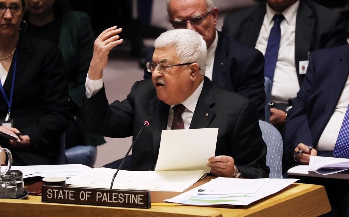 Abás, durante su discurso en el Consejo de Seguridad de la ONU.