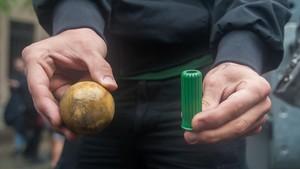 Pelotas de goma que se lanzaron en el colegio Ramon Llull de Barcelona el 1 de octubre.