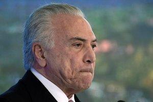 Elexpresidente brasilenoMichel Temer durante una ceremonia en Brasilia.