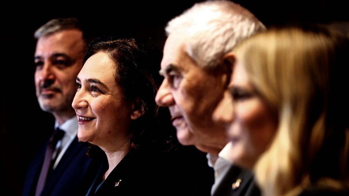 Collboni, Colau, Maragall y Artadi presentan su acuerdo sobre presupuestos, el pasado lunes.