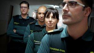 Cuatro de los cinco integrantes del Servicio de Análisis del Comportamiento Delictivo de la Guardia Civil. De izquierda a derecha, el capitán Sotoca, el capitán Touza, la guardia Medina y el sargento Ramos.