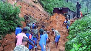 Desprendimiento en Sri Lanka debido a las lluvias.