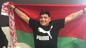Diego Maradona, en la foto promocional del Dinamo de Brest.