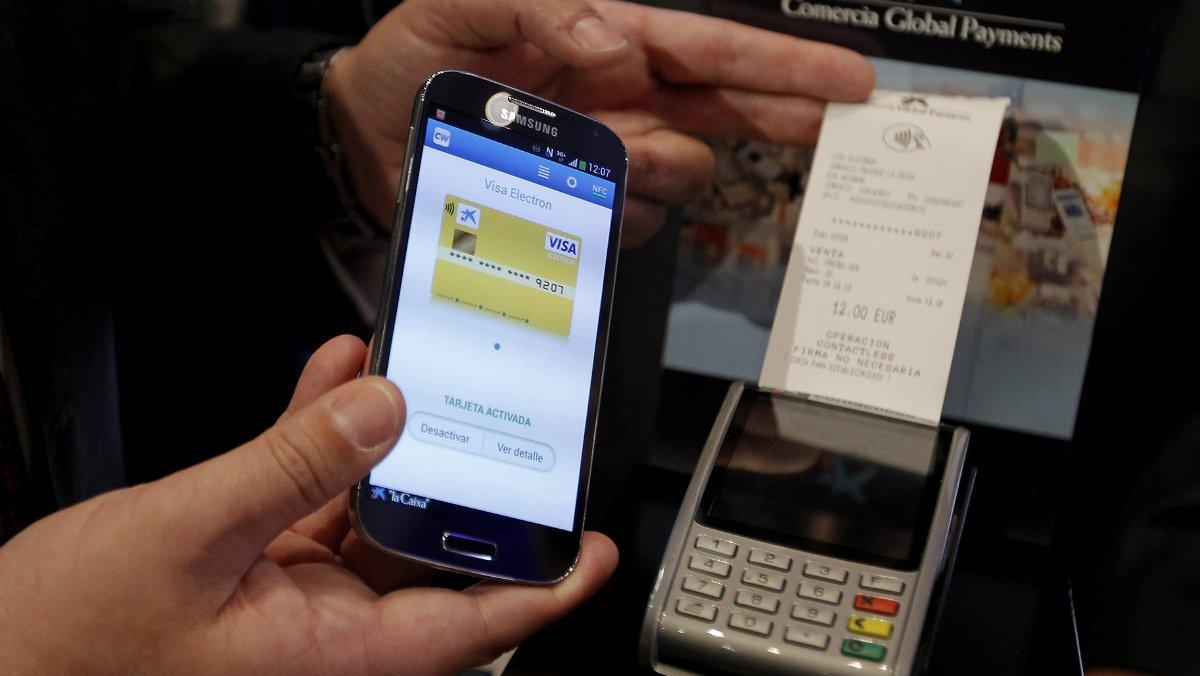Ejemplo de pago con teléfono móvil.