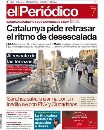 La portada d'EL PERIÓDICO del 7 de maig del 2020