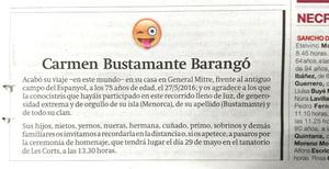 La esquela con un emoticono publicada en EL PERIÓDICOeste sábado.