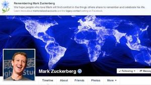 El perfil de Mark Zuckerberg en Facebook, con el mensaje que informaba de su muerte.
