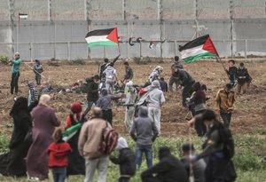 Palestinos protestan en la Franja de Gaza. EFE