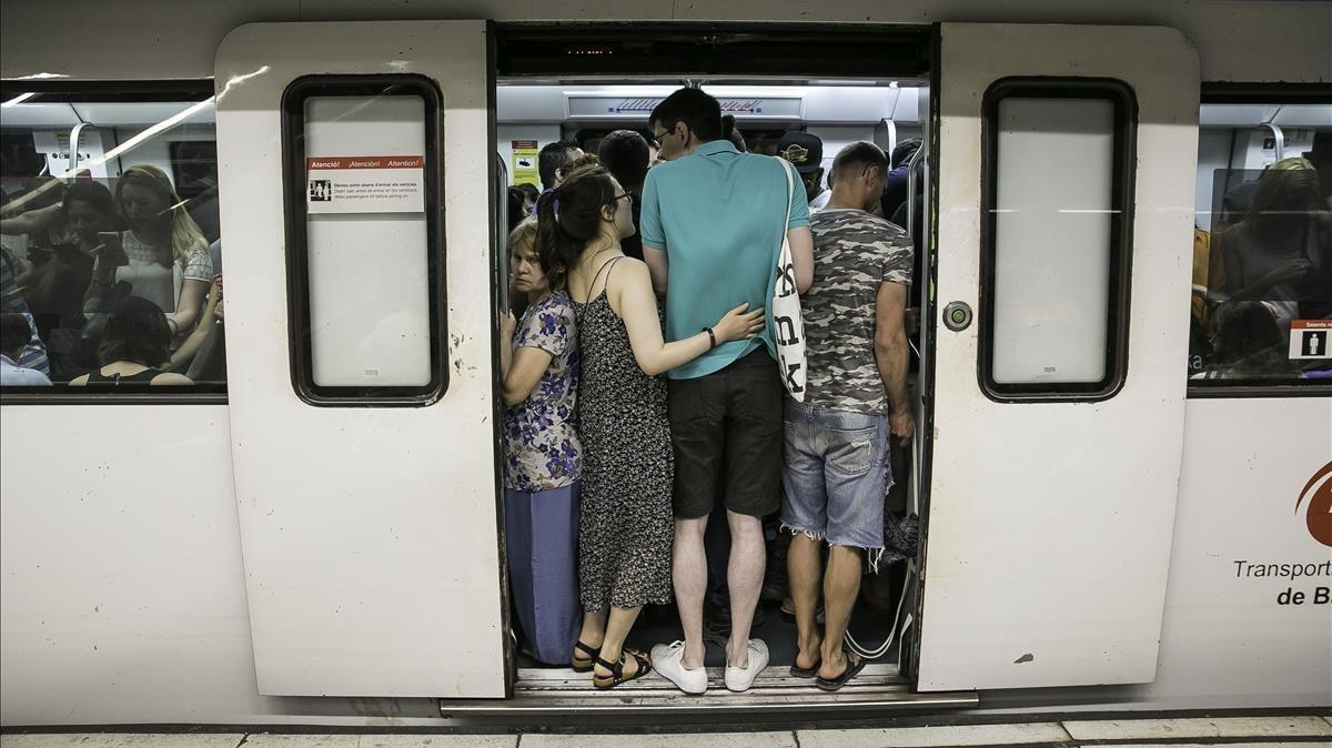 Una jornada de huelga en el metro, en julio del 2017