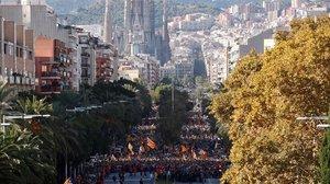 Inicio de la manifestación independentista en la calle Marina de Barcelona.