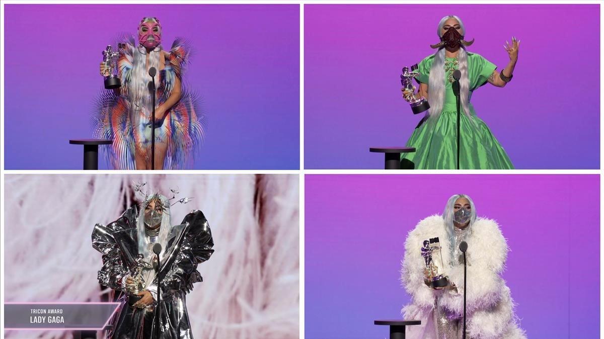 Lady Gaga, con cuatro galardones y cuatro mascarillas, en los MTV VMAs