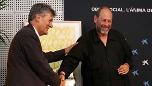 El librero Guillem Terribas, Premi Trajectòria 2018 (izquierda), y Joan Sala, director de la Setmana, este martes.