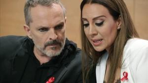Miguel Bosé y Monica Naranjo, durante la presentación de la octava edición de la Gala Sida, este lunes.