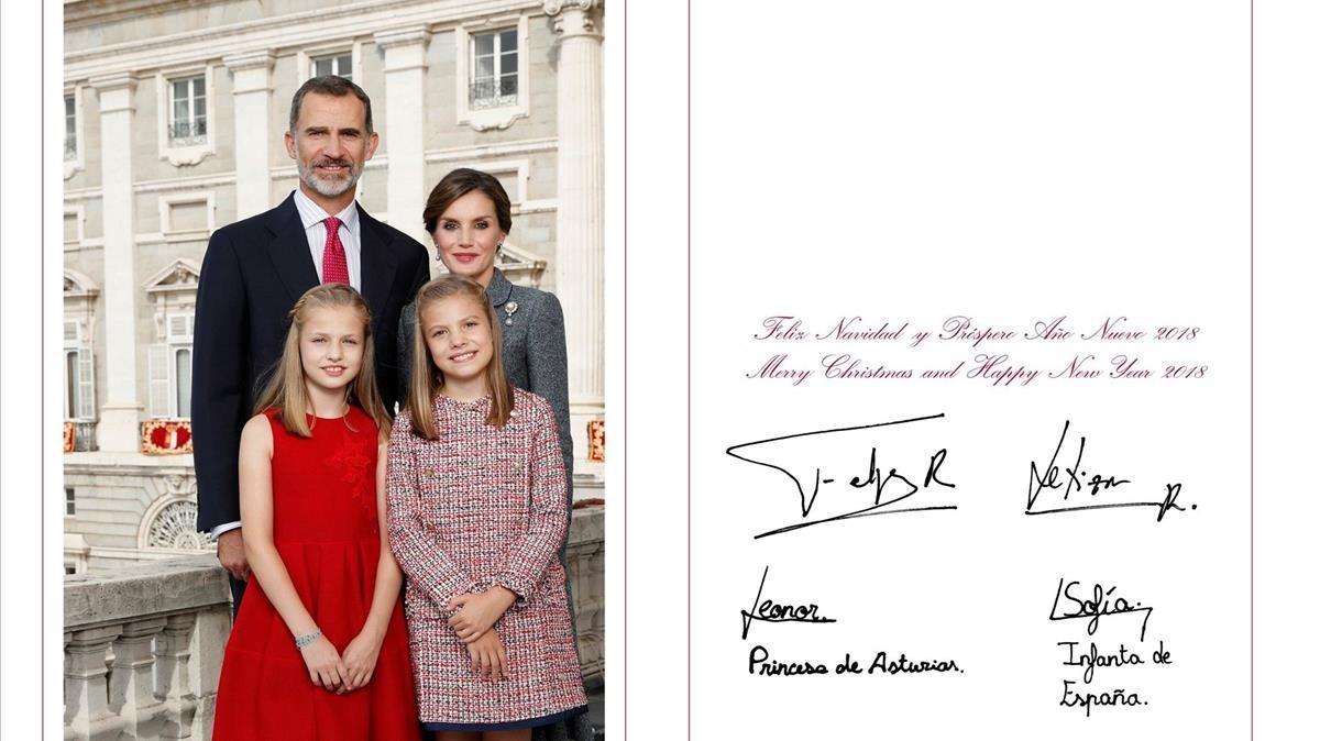 Felicitación navideña de los reyes de España y sus hijas Leonor y Sofía.
