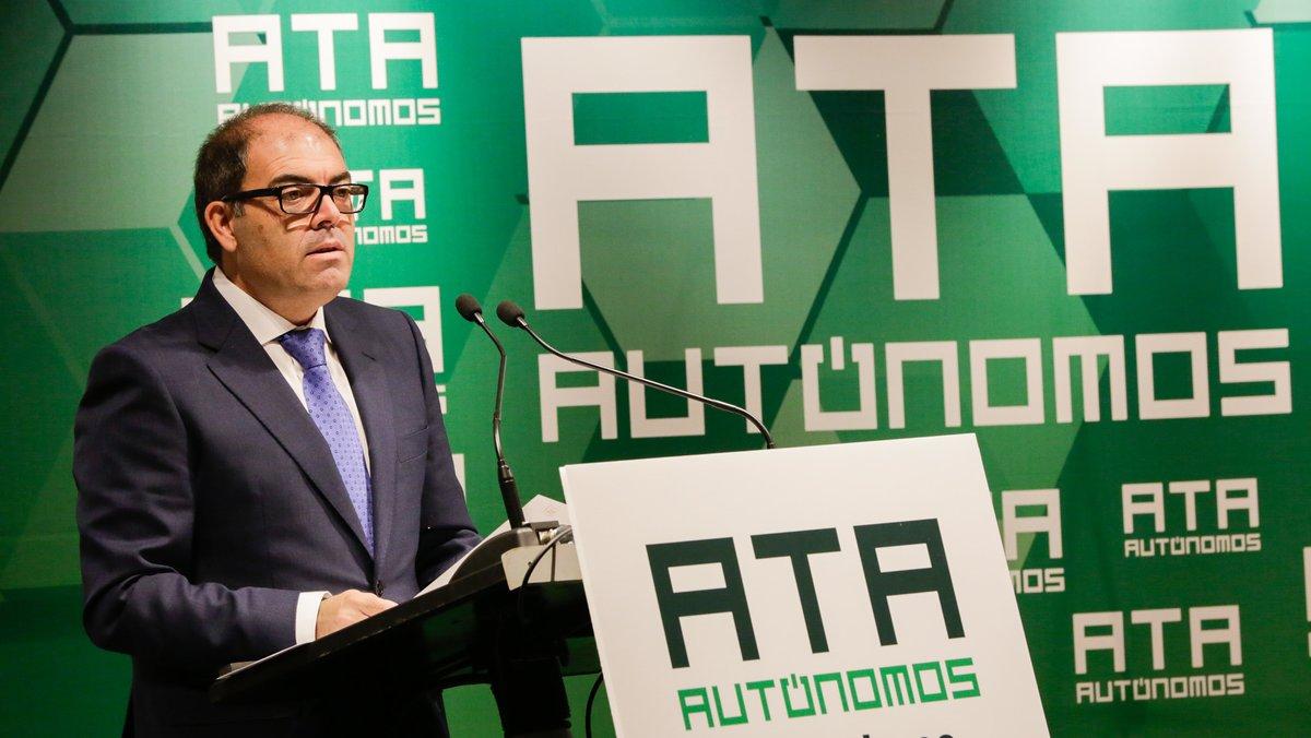 Imagen de archivo del presidente de ATA, Lorenzo Amor, durante un acto de la organización de autónomos.
