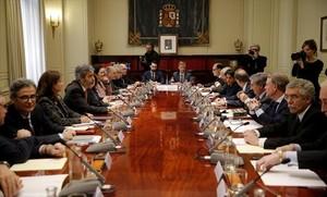 Los presidentes de los 17 tribunales superiores de justicia autonómicos, reunidos en la sede del Consejo General del Poder Judicial, ayer en Madrid.