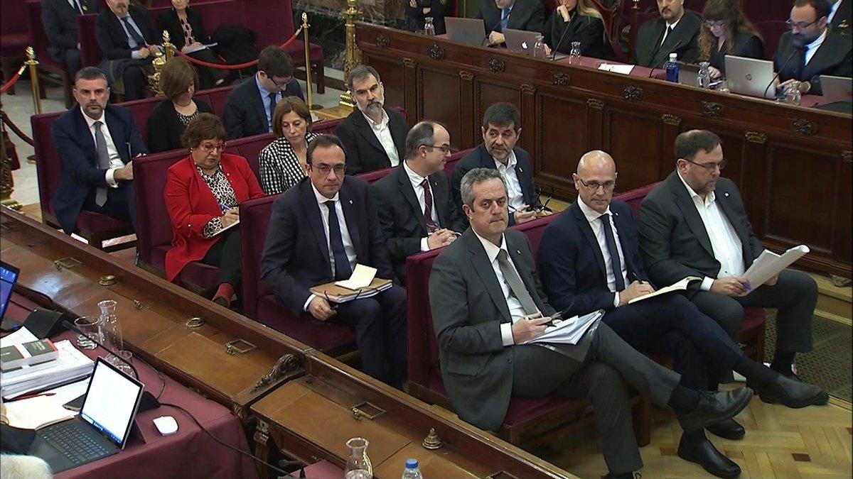Los presos independentistas, en el juicio por el 'procés'.
