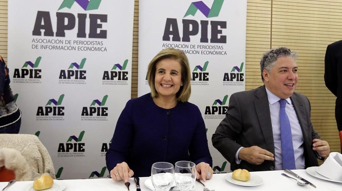 Fátima Báñez y el secretario de Estado de la Seguridad Social, Tomás Burgos, este miércoles.