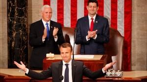 Macron durante su alocución en el Congresode EEUU.