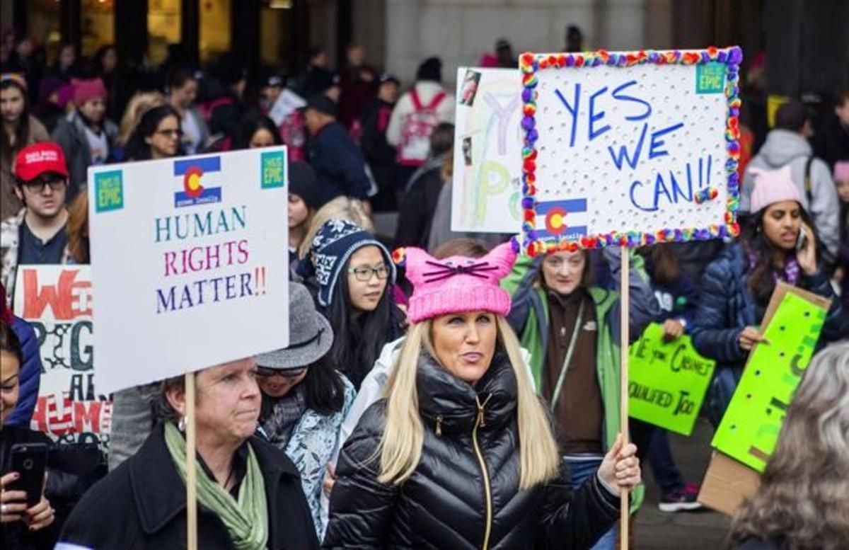 Manifestación feminista en Washington contra Donald Trump.