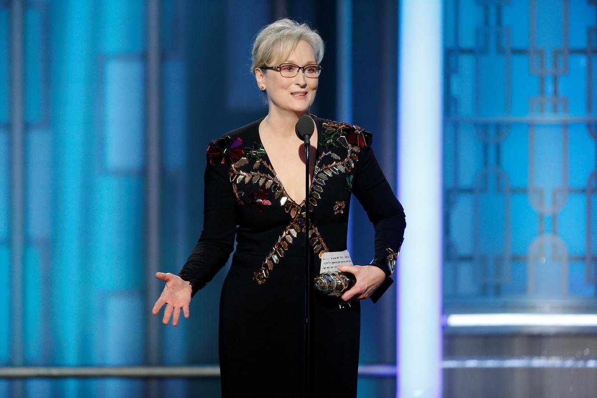 Meryl Streep, durante el discurso en los Globos de Oro en el que cargó contra Donald Trump.