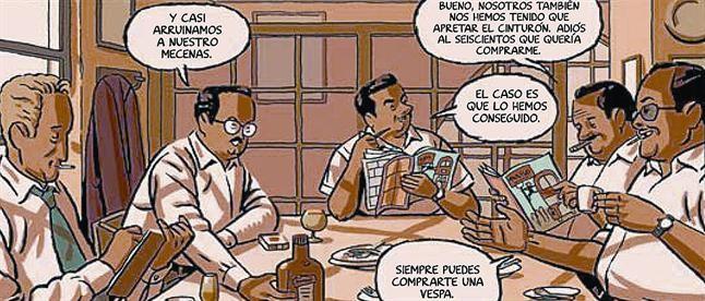 UN MUNDO DE VIÑETAS 3Conti, Peñarroya, Escobar y Cifré pasean por una calle de Barcelona (izquierda) en la ilustración de portada del cómic de Paco Roca (derecha), y celebran el primer número de Tío Vivo (arriba). A la izquierda, el personaje de Víctor Mora con Armonía, guionista y traductora de Bruguera. Abajo, promoción de la nueva revista.