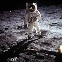 Buzz Aldrin,tripulante del Apolo XI,en la la Luna.