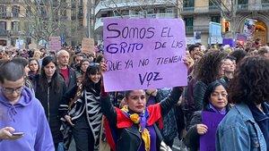 Pancarta de la manifestación del 8-M en Barcelona.