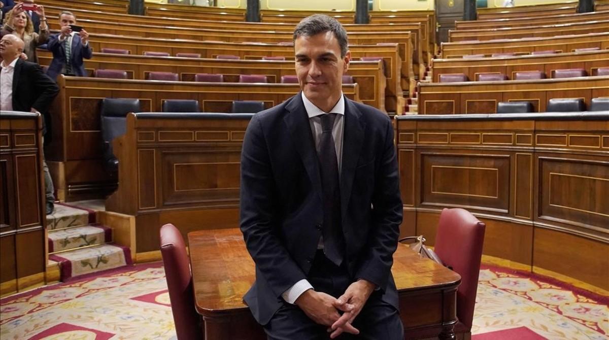 Pedro Sánchez, después de ganar la mocion de censura, el pasado 1 de junio en el Congreso.