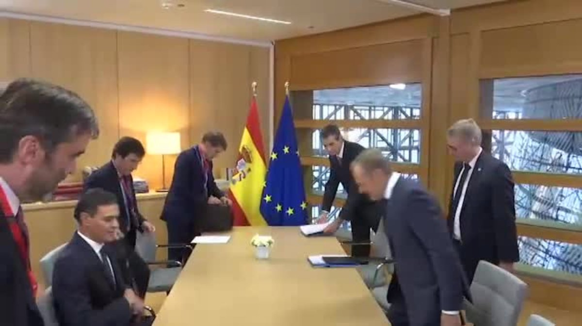Pedro Sánchez se reúne con Juncker y Tusk para hablar de presupuestos