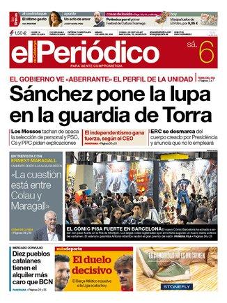 La portada de EL PERIÓDICO del 6 de abril del 2019