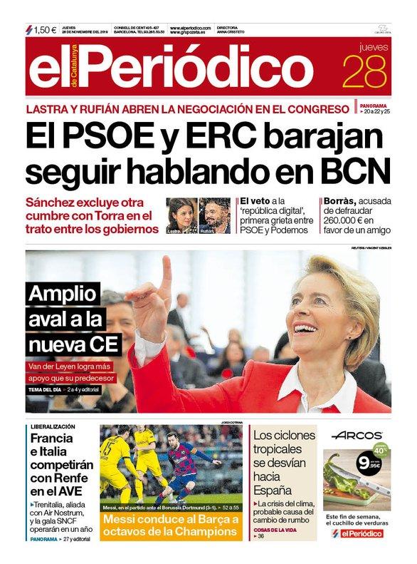 La portada de EL PERIÓDICO del 28 de noviembre del 2019.