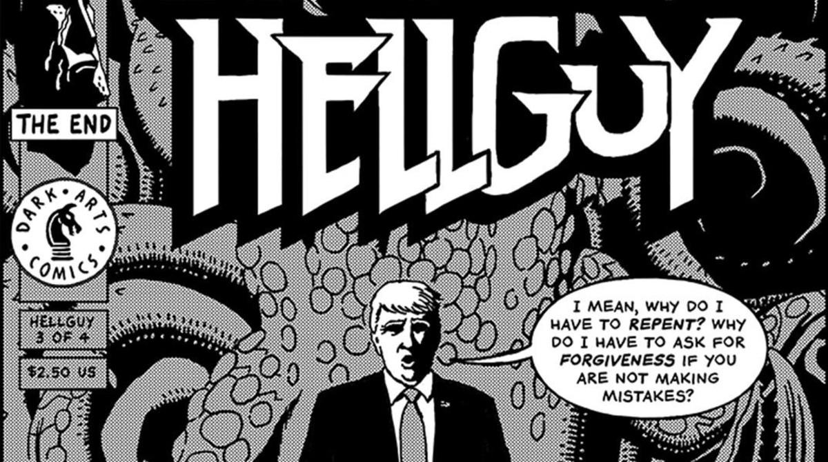 Portada deR. Sikoryak sobre Trump emulando a 'Hellboy'.
