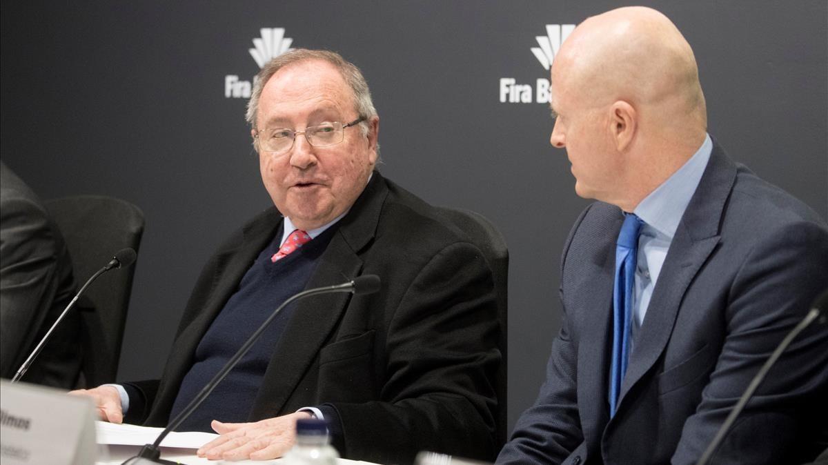 El presidente de Alimentaria, Josep Lluis Bonet, junto al presidente de Hostelco, Rafael Olmos, en la presentación del acuerdo.