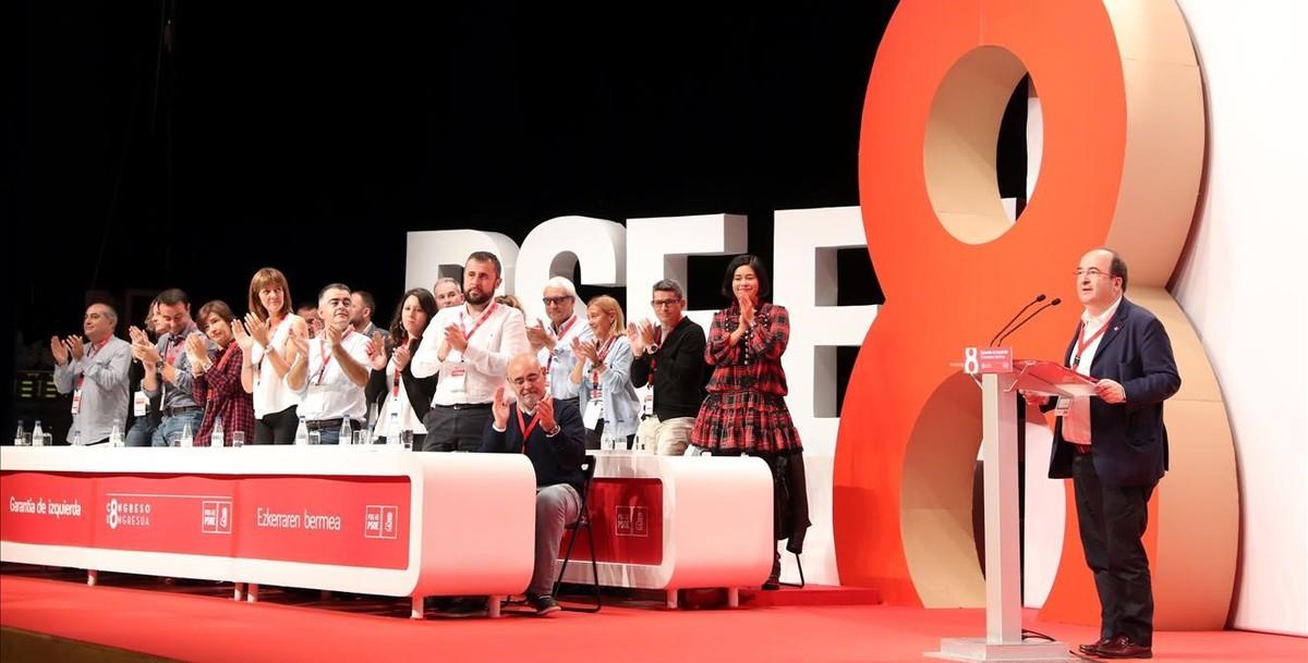 Iceta interviene en el VIII Congreso del PSE-EE, en Bilbao.