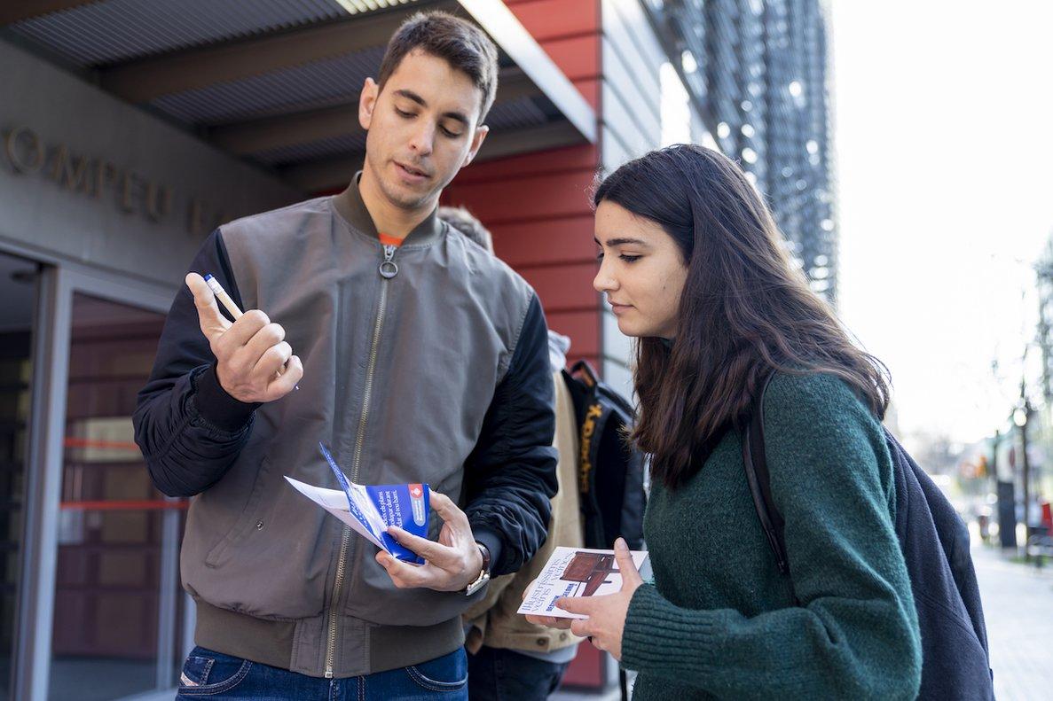 Punto de participación presencial en el Campus de Poblenou de la Universitat Pompeu Fabra.