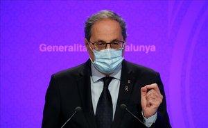 Quim Torra, en la rueda de prensa de balance de la situación de Catalunya frente al coronavirus.