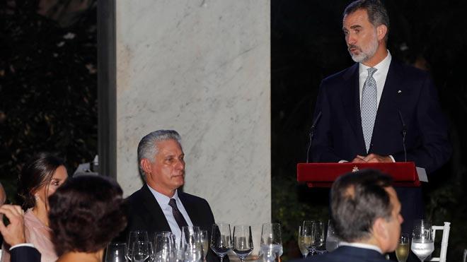 El Rei defensa davant de Díaz-Canel la democràcia i els drets humans