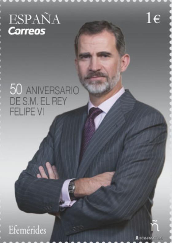 El sello conmemorativo del 50 aniversario del Rey.
