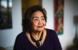 Setsuko Thurlow. que sobrevivió al bombardeo atómico de Hiroshima en 1945, en Barcelona.