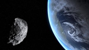 Simulación de un asteroide pasando cerca de la Tierra