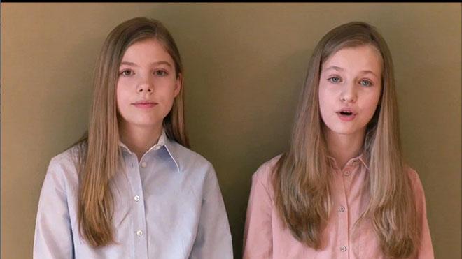 Mensaje de lainfanta Sofía (izquierda) y la princesa Leonor sobre la crisis del coronavirus