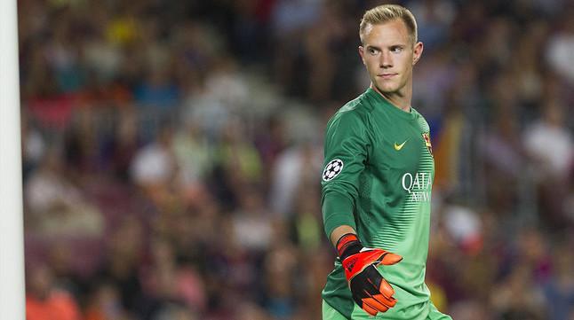 Ter Stegen, durante el partido contra el Apoel en el Camp Nou, el pasado 17 de septiembre.