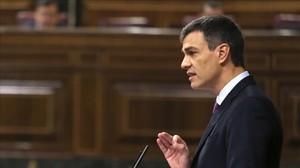 El presidente del Gobierno, Pedro Sánchez, durante su intervención en el pleno del Congreso, el pasado día 27, antes de la reunión del Consejo Europeo.