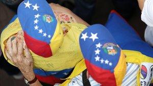 Seguidores del líder de la oposición venezolana, Juan Guaidó, en una concentración en Caracas este mes de mayo.