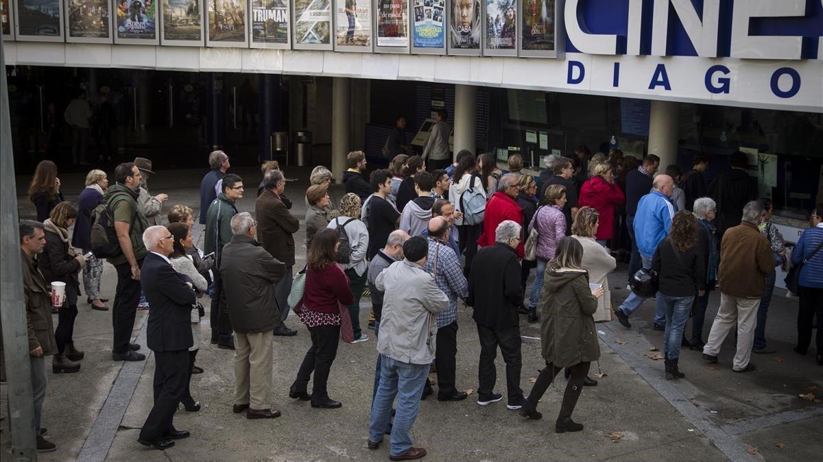 Espectadores en una edición anterior de la Fiesta del Cine.