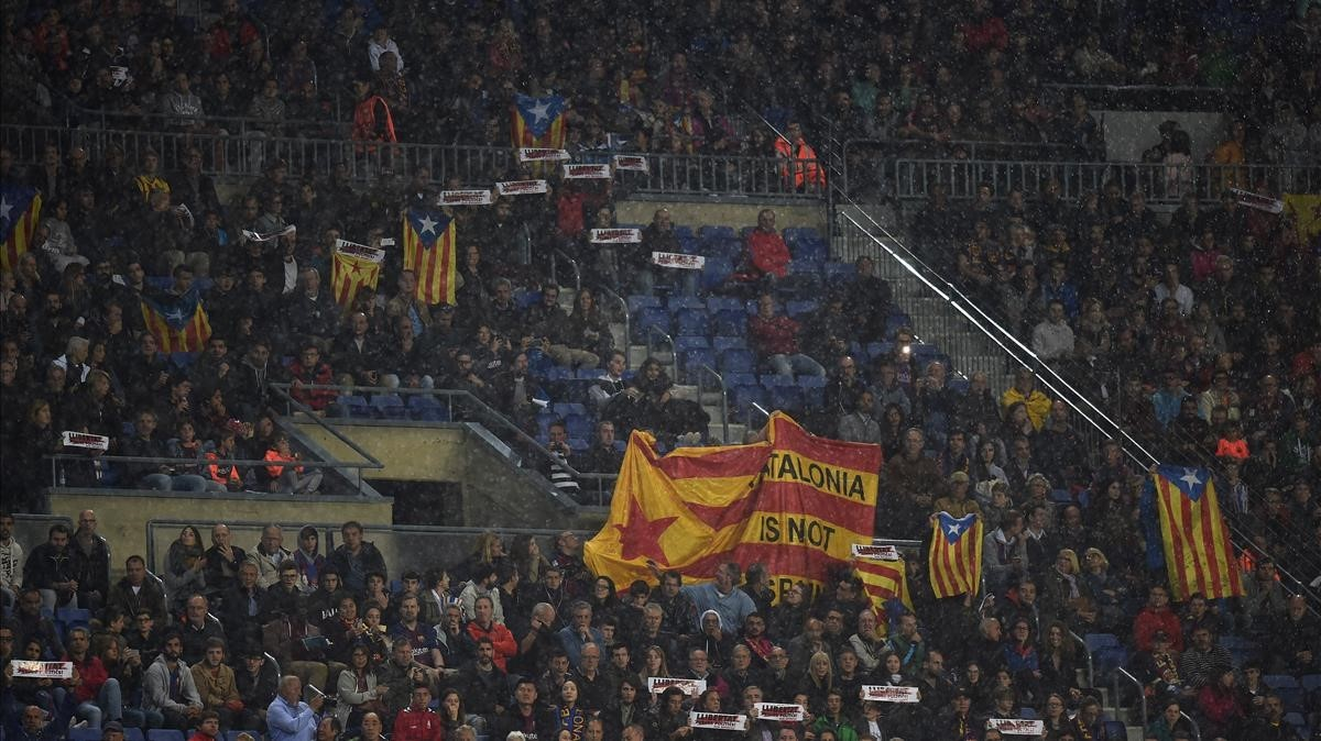Las entidades soberanistas aspiran a teñir de amarillo el Camp Nou para reivindicar la libertad de los políticos presos.
