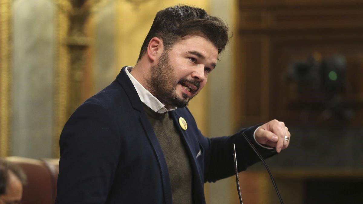 Rufián, en un pleno del Congreso.